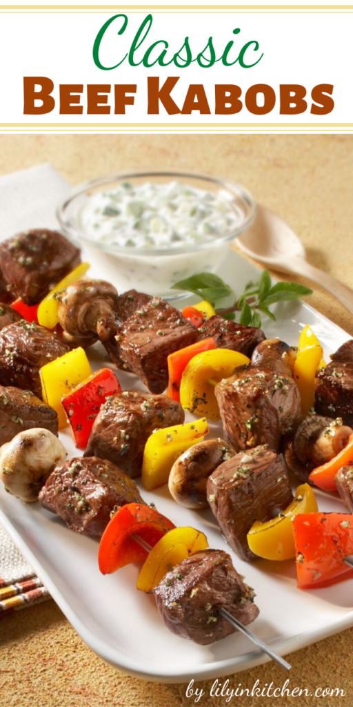 Recipe for Classic Beef Kabobs – I absolutely love kabobs of all kinds, but my favorite is a classic kabob with beef and an assortment of veggies!