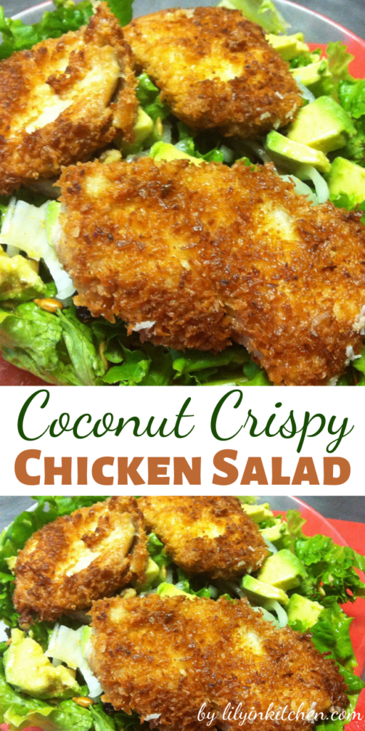 Recipe for Coconut Crispy Chicken Salad – One of my favorite things to eat has always been Crispy Chicken Salad – I mean salad is always healthy right? It was healthy and delicious!
