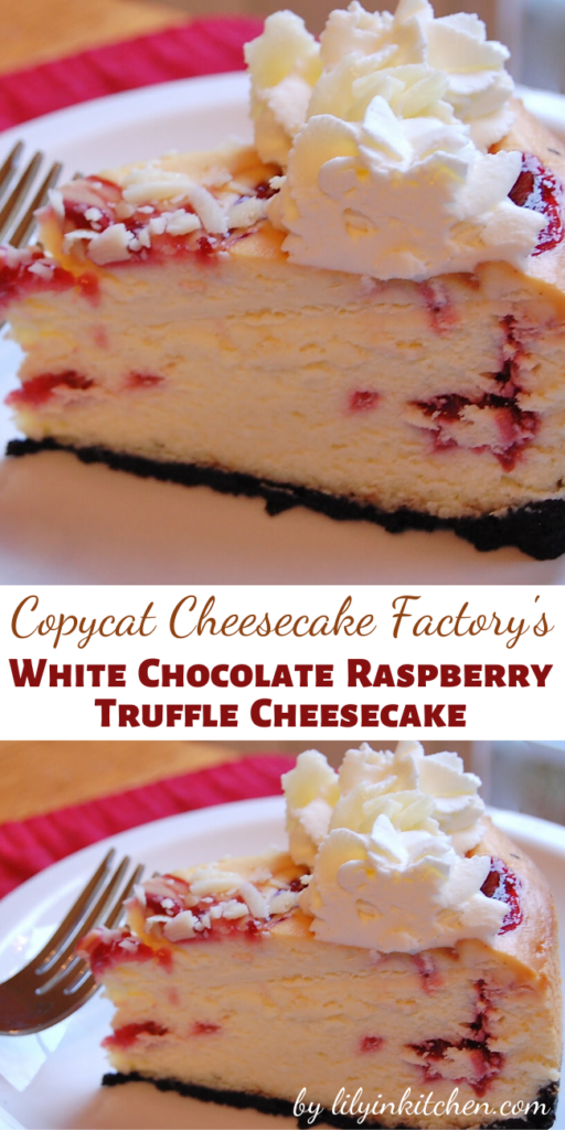 Recipe for Copycat Cheesecake Factory White Chocolate Raspberry Truffle Cheesecake -I like a rich cheesecake with nice height to it and I think a generous swirl of fresh whipped cream on top looks so nice. This Copycat Cheesecake Factory White Chocolate Raspberry Truffle Cheesecake recipe is both of those things!