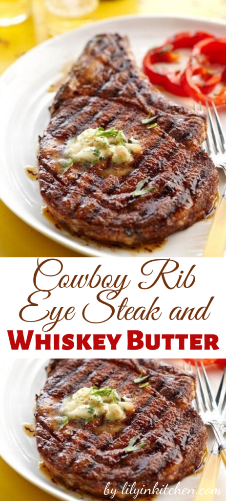 When it's nice outside, you can not go wrong with a perfectly grilled steak. And this Cowboy Rib Eye Steak and Whiskey Butter recipe is to die for. It's like meat heaven on a plate.