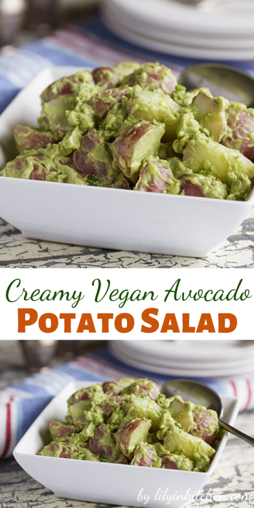This classic potato salad features creamy avocado instead of mayonnaise, making it slightly green, I have a feeling no one will mind once they have a taste.