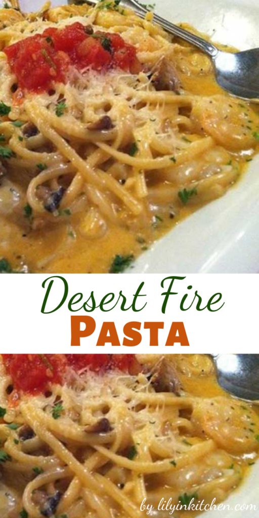 Recipe for Desert Fire Pasta – A Canyon Cafe recipe, the topping adds tremendously to the finished dish.