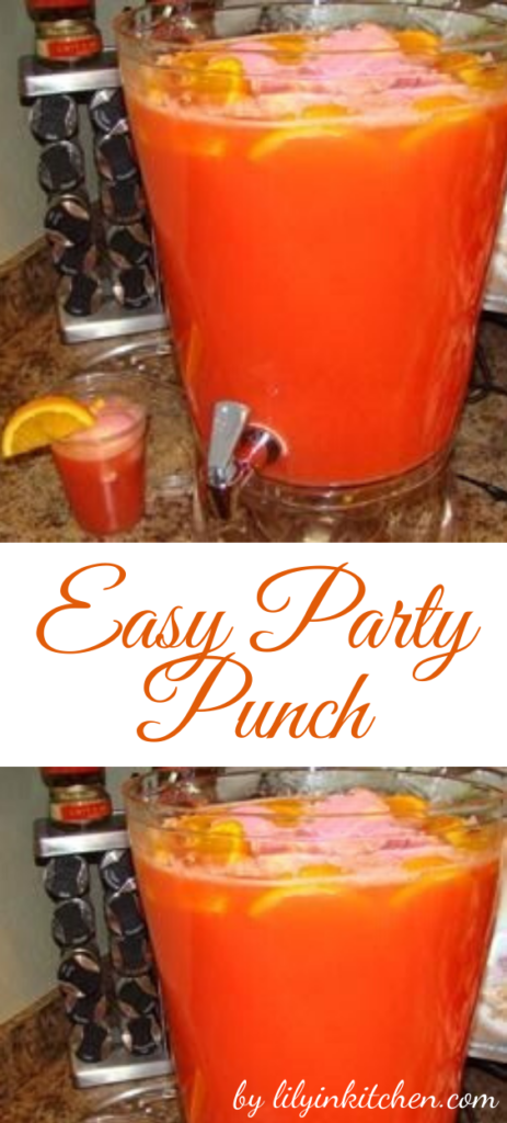 This easy party punch is so easy to make that a child could do it, yet it is so delicious. It is always served at our family gatherings, and at our weddings.