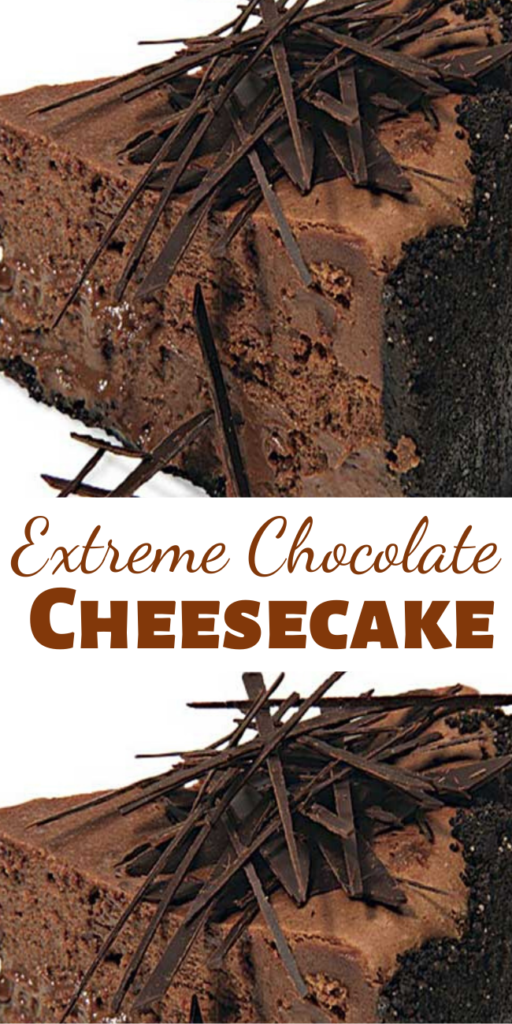 You can't get more chocolate than this Extreme Chocolate Cheesecake: a chocolate-wafer crust, melted dark chocolate in the filling, and chocolate shards scattered over the top.