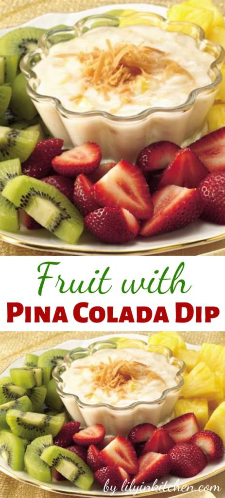 Recipe for Fruit with Pina Colada Dip – Take a trip to the islands with this fun fruit dessert, with kiwis and more dipped in a rum-and-coconut yogurt.