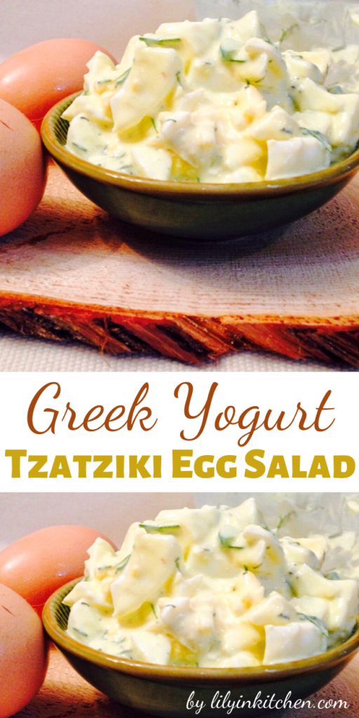 Recipe for Greek Yogurt Tzatziki Egg Salad – You have got to try this healthier spin on egg salad. It's great on it's own, or you can try it on some pita bread or even crackers.