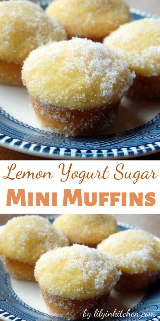 With their tangy flavor, moist texture, and crackly sugar coating, these Lemon Yogurt Sugar Mini Muffins are perfect for a quick breakfast, or a fun after-school snack.