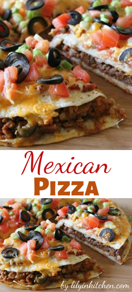 Recipe for Mexican Pizza – A tasty and easy Mexican-style pizza – delicious corn tortillas topped with beans, beef and all the delicious taco toppings you can imagine!