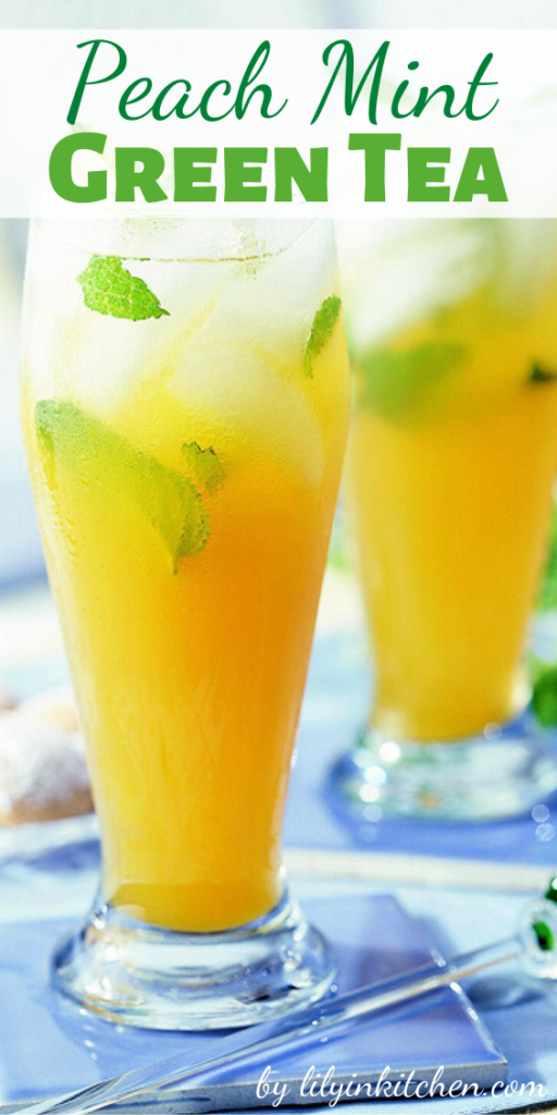 Recipe for Peach Mint Green Tea – Peach nectar and mint flavor green tea in this refreshing sweetened summer drink recipe.