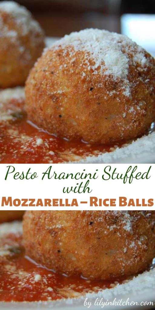 Recipe for Pesto Arancini Stuffed with Mozzarella – Rice Balls – Italian rice balls made with white wine risotto, and a gooey mozzarella center. Fantastic for lunch or dinner!