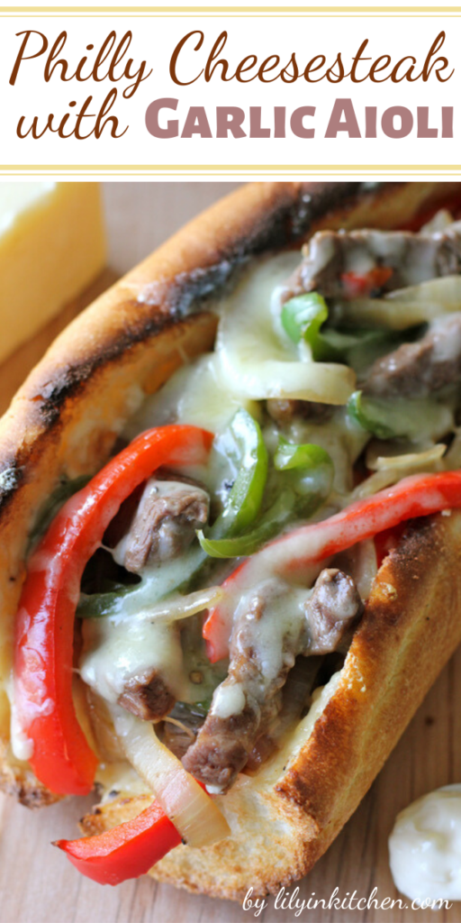 Recipe for Philly Cheesesteak with Garlic Aioli – The garlic aioli served as a wonderful complement to the meaty goodness along with the creamy, crumbly cheese. I really loved that the flavors melded so well together.