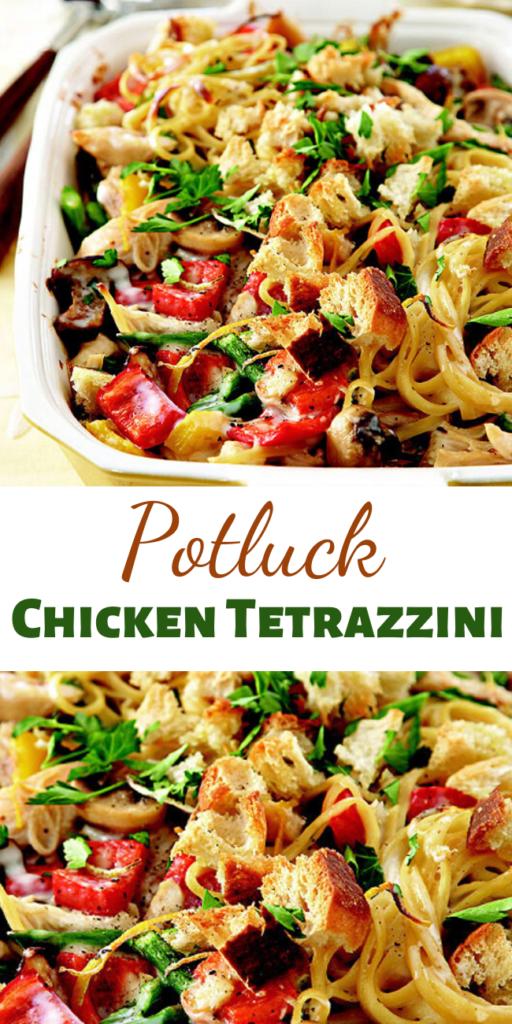 Recipe for Potluck Chicken Tetrazzini – The original dish was created in 1908 in San Francisco in honor of opera star Luisa Tetrazzini.