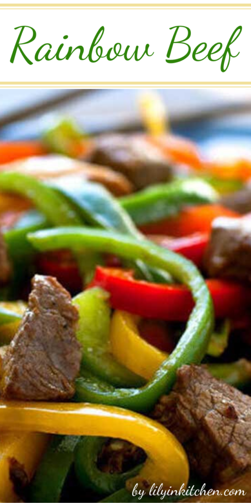 In this version of a stir-fry classic, Rainbow Beef, I am using less beef than a typical recipe would call for and adding in some shiitake mushrooms and extra peppers.