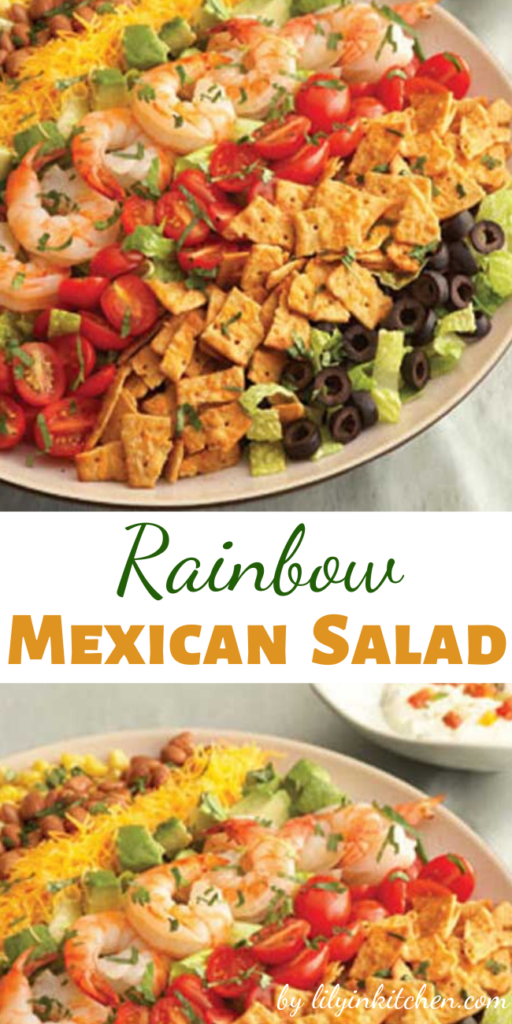 Colorful and flavorful ingredients like tomatoes, Cheddar cheese, avocado, corn and olives are easily arranged to make this Rainbow Mexican Salad. It gets a delicious crunch from crumbled cheese crisps. It makes a beautiful presentation and is ready in just 30 minutes.