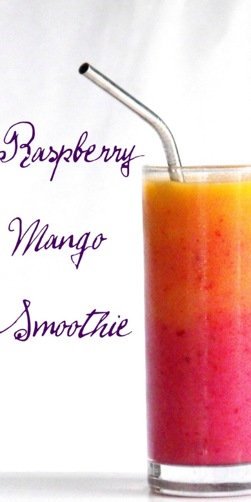 Recipe for Raspberry Mango Sunrise –  I love making smoothies. For breakfast, after a workout, for a quick snack, a sweet treat after dinner. Anytime is a good time for a yummy smoothie.