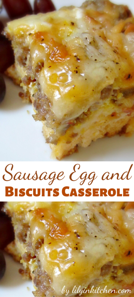 Good for breakfast and beyond, this Sausage Egg and Biscuits Casserole is a winner. Eggs, breakfast sausage, cheese and buttermilk biscuits. It's everything good about breakfast, all together in one dish!