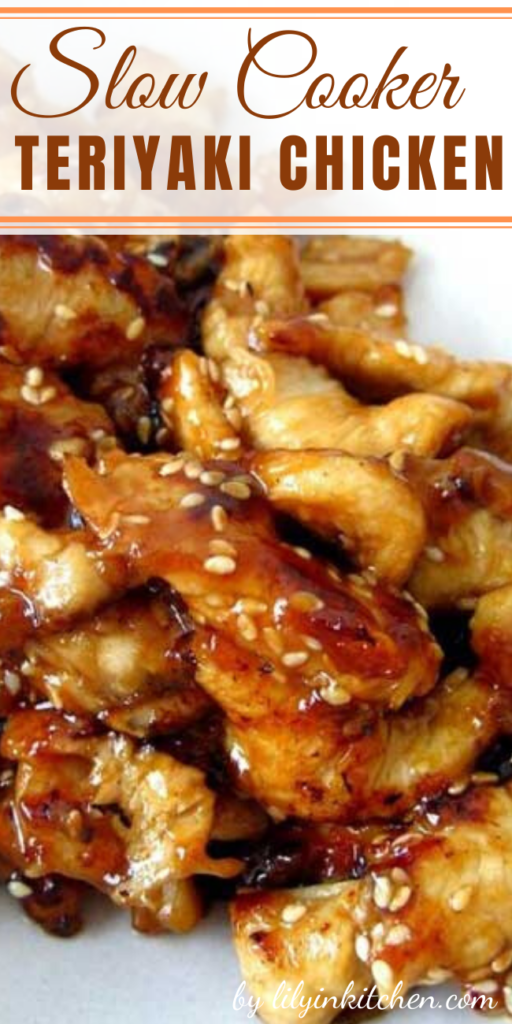Serve this Slow Cooker Teriyaki Chicken over rice, you don't want any of that delicious, sticky sauce going to waste.