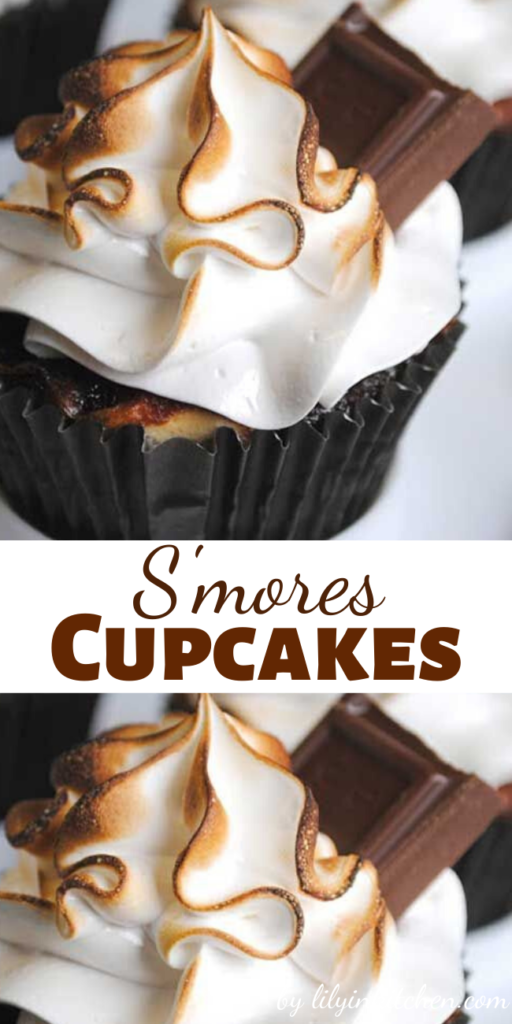 These yummy Smores Cupcakes have everything that S'mores needs: graham cracker, Hershey's chocolate, toasted marshmallow. At the bottom of these cupcakes is a graham cracker crust, then a  rich chocolate cake, and on top is marshmallow frosting garnished with a square of chocolate.
