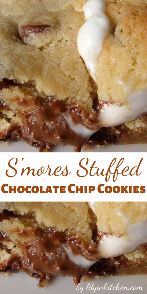 Have you ever seen a more delicious-looking cookie?! Me neither. And I've seen lots of cookies. These are chocolate chip cookies STUFFED WITH S'MORES. It's a cookie within a cookie! I don't understand why no one thought of this sooner.