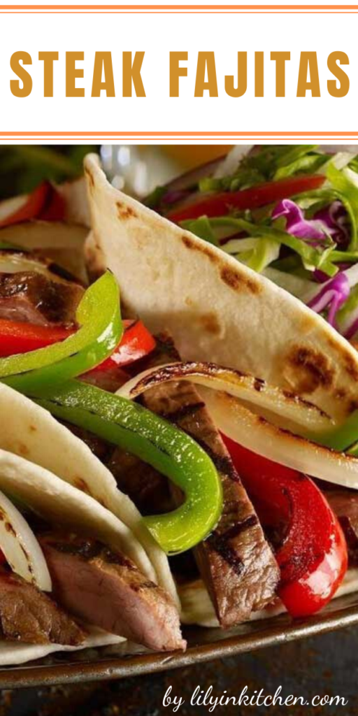 Recipe for Steak Fajitas – Classic Tex Mex, fajitas are typically made with grilled flank steak with onions and bell peppers, and served sizzling hot with fresh tortillas, guacamole, sour cream, and salsa.