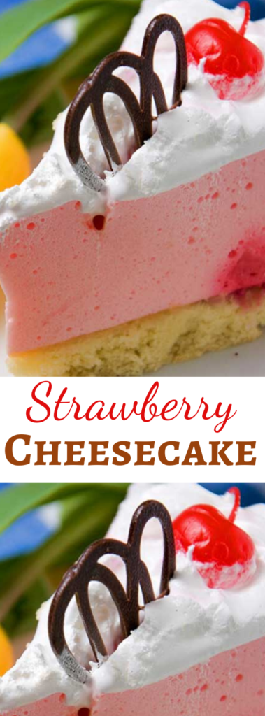 A light and fluffy no bake Strawberry Cheesecake recipe, complete with a fancy chocolate garnish.