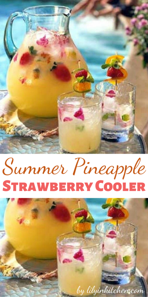 I am ready for summer! This recipe just puts me in the summer mood. Come-on sunshine! Pineapple juice, limeade and club soda make a refreshing drink that goes beautifully with all kinds of summer fruit. And with strawberries in season right now, they make a perfect match.