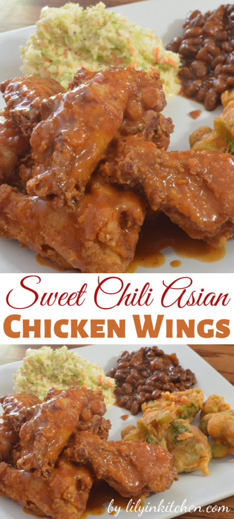 Best crispy Asian chicken wing recipe that you'll love! Like a buffalo wing but with sweet spicy chili garlic sauce.