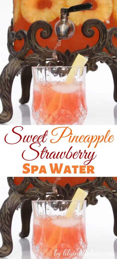 Recipe for Sweet Pineapple Strawberry Spa Water – Pineapple, nature's healing fruit, contains nutrients that are known to strengthen the immune system, plus help repair bodily tissue and promote wound healing.