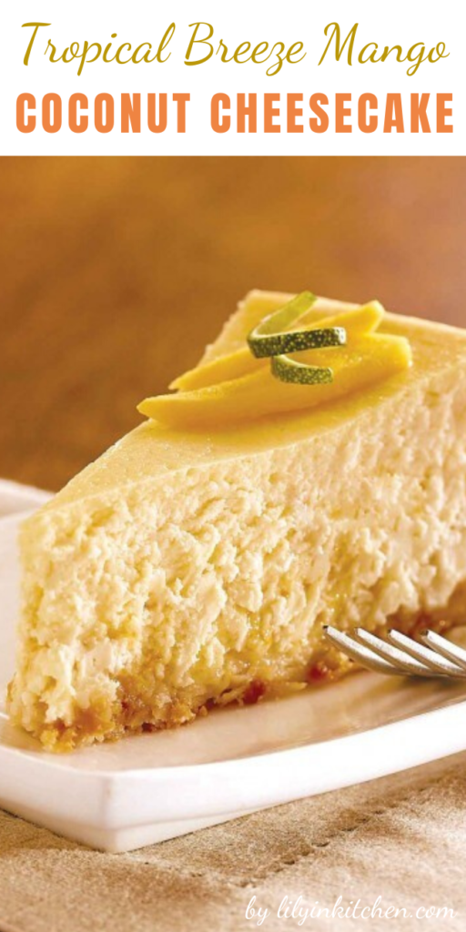 Get a taste of the tropics with this Tropical Breeze Mango Coconut Cheesecake. This recipe is mouthwatering to look at, easy to prepare and perfect for sharing!