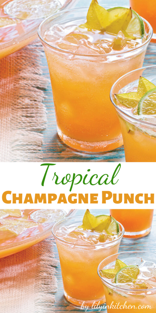 Recipe for Tropical Champagne Punch – This would be lovely for a bridal shower or any girlie get-together, the star fruit will be a huge hit!!