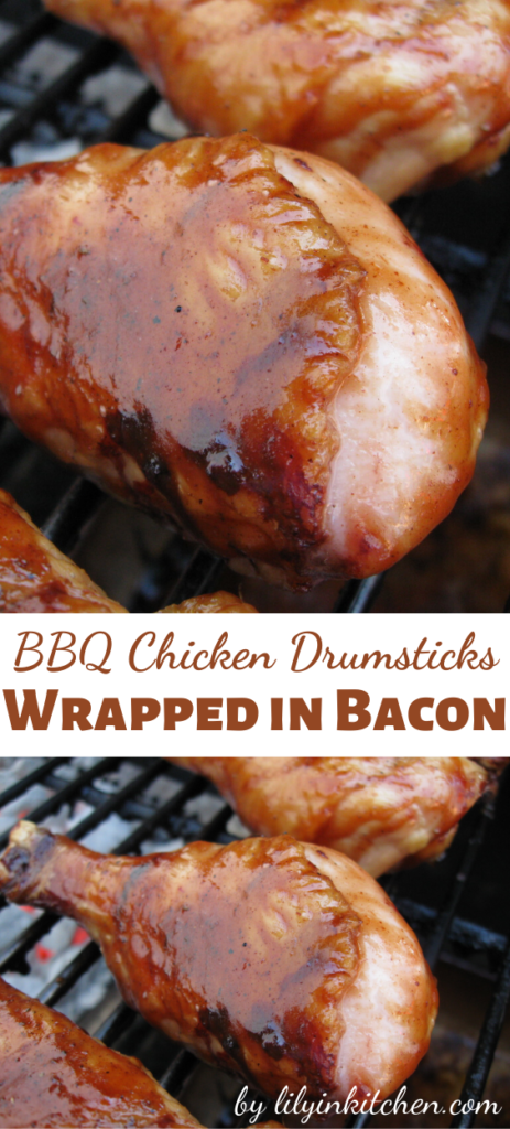 This is the PERFECT recipe for grilled chicken. These BBQ Chicken Drumsticks Wrapped in Bacon are my goto almost everytime we fire up the grill.