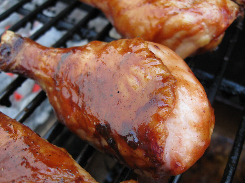 BBQ Chicken Drumsticks Wrapped in Bacon