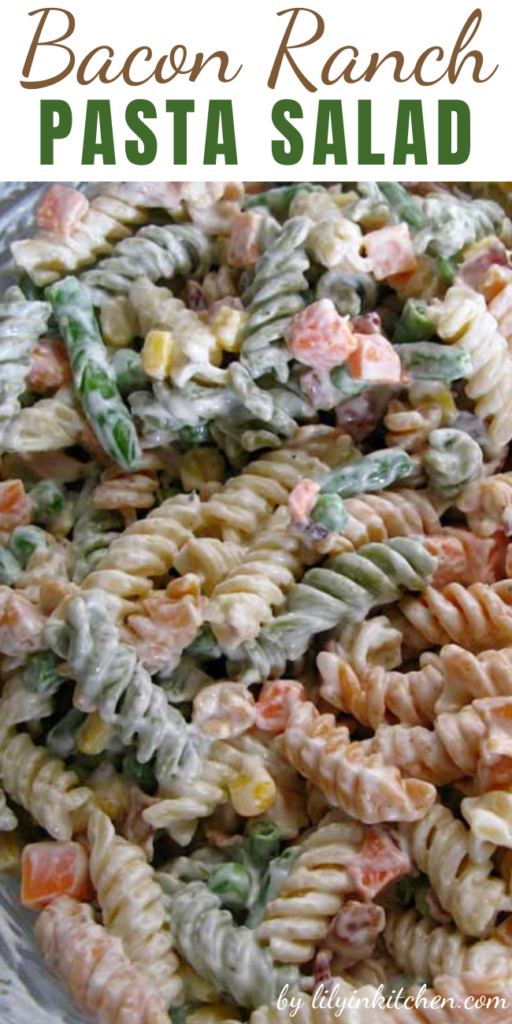 This Bacon Ranch Pasta Salad recipe is simple and really only a guideline. Feel free to change up the type of pasta used, or substitute different vegetables.