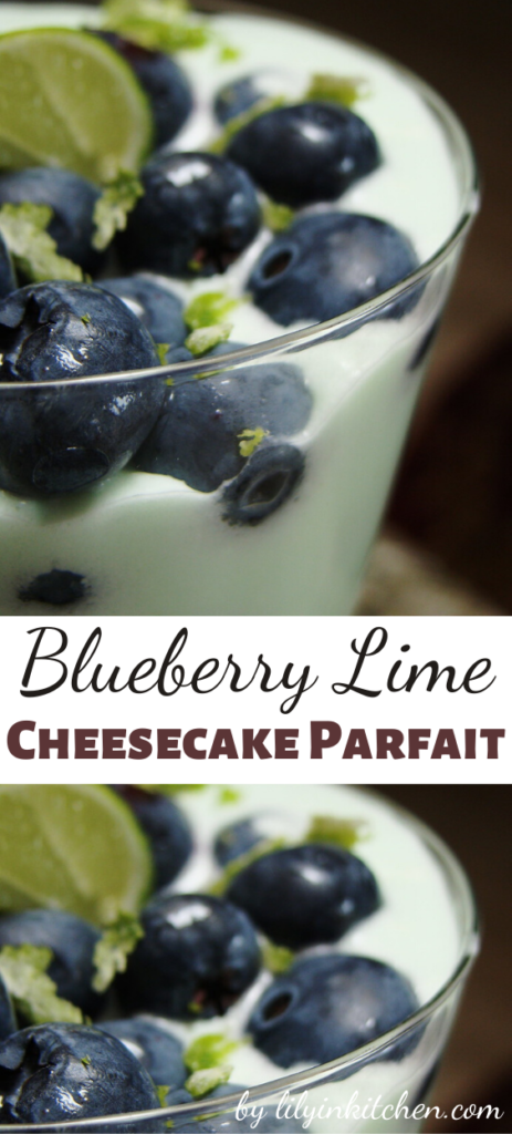 This Blueberry Lime Cheesecake Parfait makes a quick and delicious dessert. I think it is perfect as a mid-day snack too!