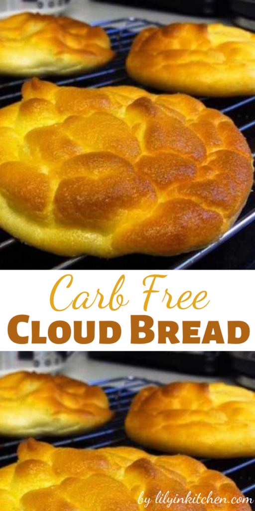 This Carb Free Cloud Bread recipe is a delicious home-made bread replacement that is practically carb free and very high in protein. They are just like heaven so I call them clouds.