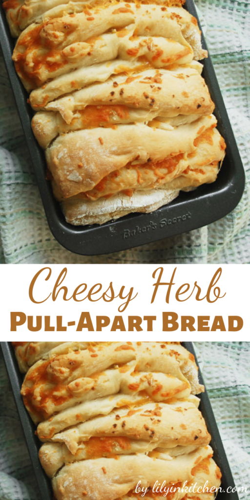 While this Cheesy Herb Pull-Apart Bread was baking, it smelled like pizza baking up in the oven. Maybe I should whip up some marinara next time I make this?
