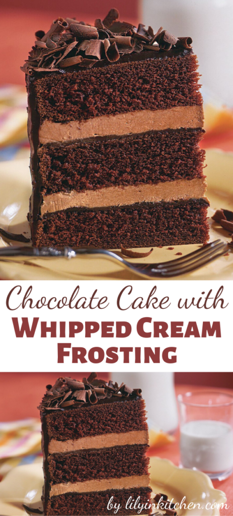 This Chocolate Cake with Whipped Cream Frosting is a simple and easy to prepare chocolate cake recipe that uses two favorite foods: chocolate cake and chocolate whipped cream frosting.
