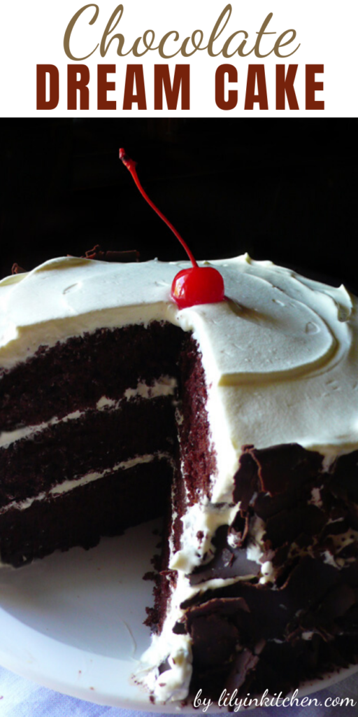 Chocolate chiffon cake with whipped cream frosting and chocolate shavings for garnish. In Hawaii this is known as the chocolate dream cake. And for chocolate lovers…this cake does not have to be just a dream any longer…you can make it a reality!