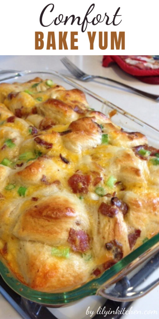 When I first saw the recipe that inspired this Comfort Bake Yum, it had a lot fewer ingredients and was intended as a snack. I stepped it up a few notches and made it a breakfast feast!