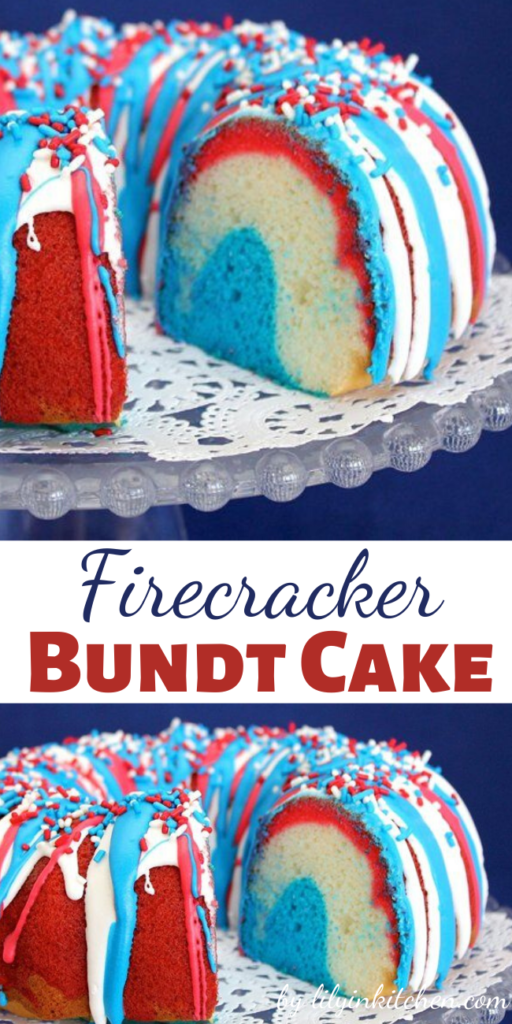 American holidays like the 4th of July are the perfect time to make easy and delicious red white and blue desserts. My Firecracker Bundt Cake is fun to make and will have everyone wondering how you got all the colors in there.