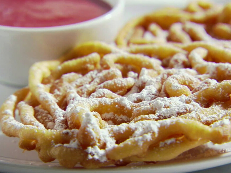 Funnel Cakes with Strawberry Sauce