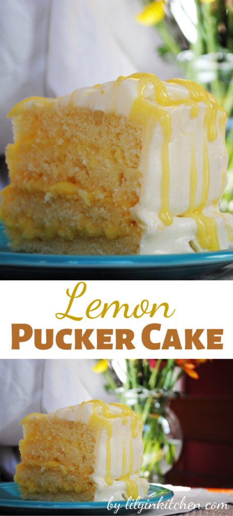 This Lemon Pucker Cake is a moist, buttery lemon cake filled with tangy lemon curd and encased in the perfect sweetness of a decadent white chocolate buttercream.