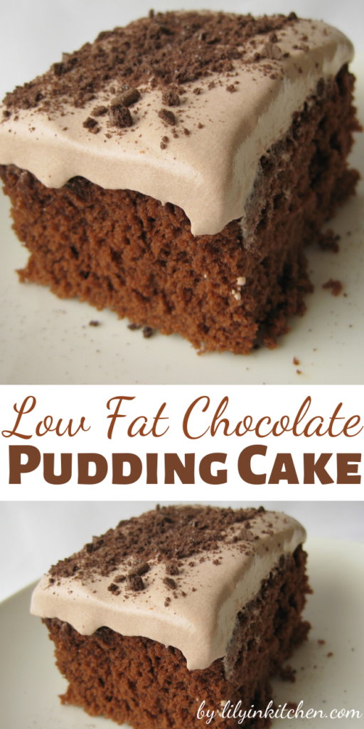 This Low Fat Chocolate Pudding Cake is surprisingly really good. It is very light and full of flavor. I would almost prefer this cake to regular cake with thick heavy frosting. I guess less guilt has something to do with that.