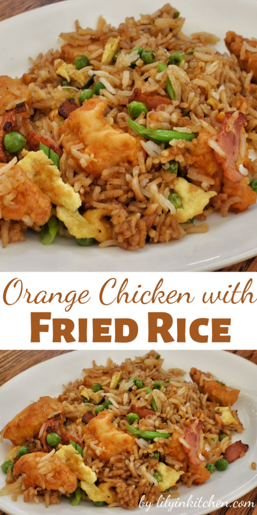 Spicy and sweet Orange Chicken with Fried Rice. You may never order take-out again after trying this recipe!