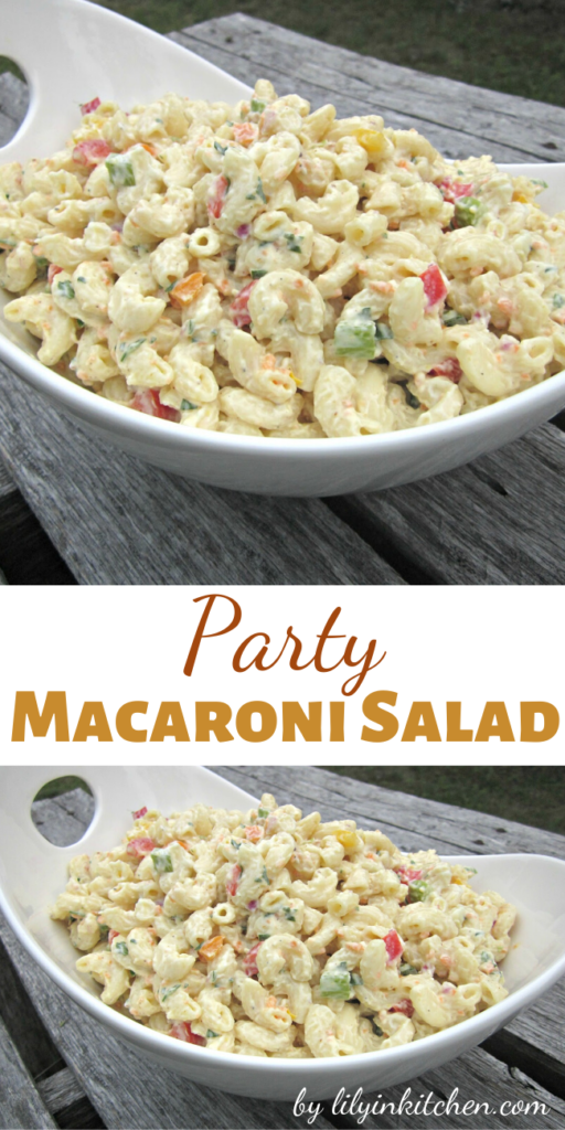 This Party Macaroni Salad recipe makes a great side dish for any summer barbecue or picnic. Make it in advance and refrigerate it for at least two hours.