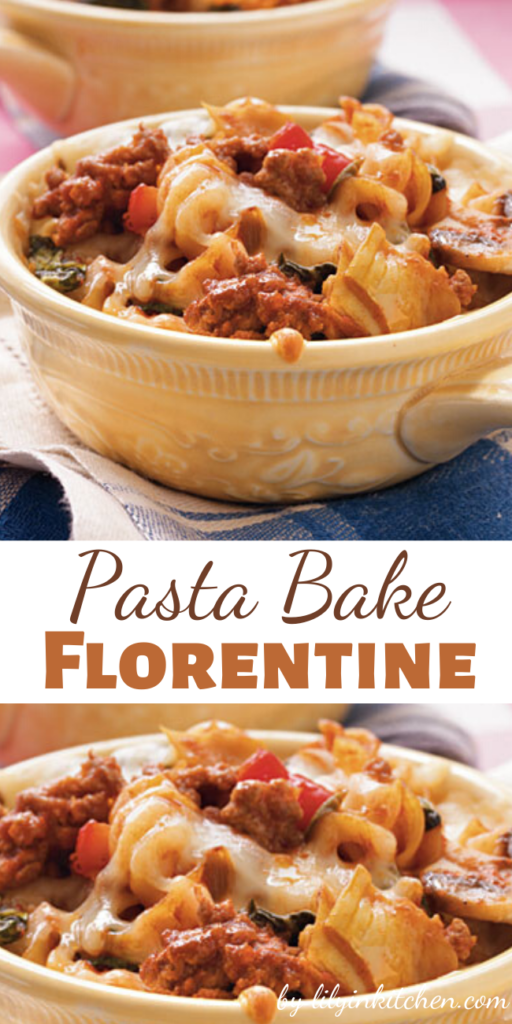 Not only is this baked Pasta Bake Florentine delicious, but the variety of vegetables makes it colorful and appealing as well.