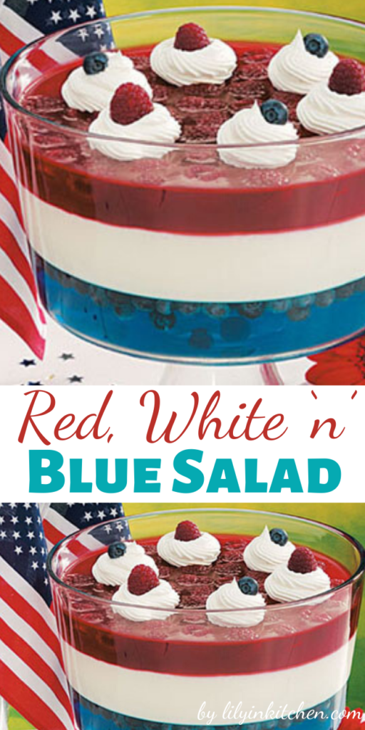 "Recipe for Red White n Blue Salad – Our striking ""flag"" salad drew plenty of attention at our Independence Day party. The shimmering stripes are formed with distinctive gelatin layers. It makes you want to salute before spooning some up!"