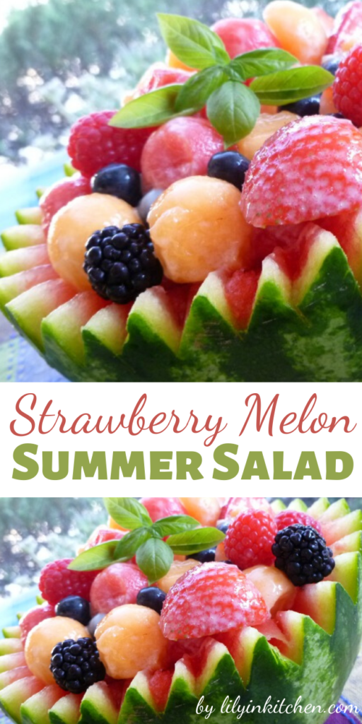 Recipe for Strawberry Melon Summer Salad – This salad is perfect for summer BBQs. The fruit makes it sooo tasty!!