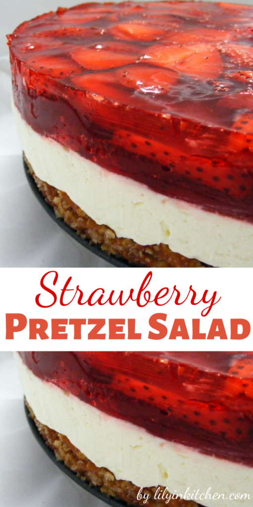 This Strawberry Pretzel Salad is a classic summer dessert that features a crunchy pretzel crust, a creamy center and a fresh strawberry and JELL-O Strawberry Flavor Gelatin topping.