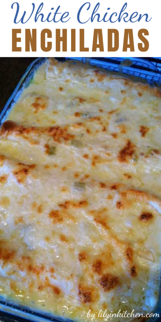 White Chicken Enchiladas with green chili sour cream sauce. It is seriously even better than it looks!